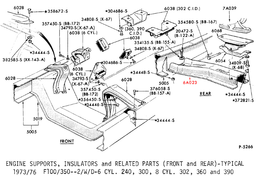 Ford Truck Part Numbers  Transmission Crossmember